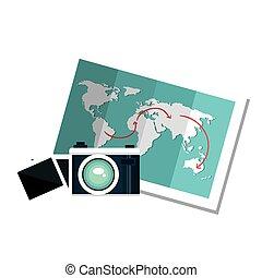camera and world map