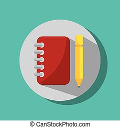 notebook and pencil utensils