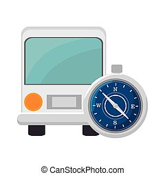 bus and compass - bus transportation vehicle and compass...