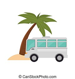 bus and palm tree - bus transportation vehicle and palm tree...