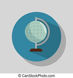 earth planet globe over blue circle background. vector...