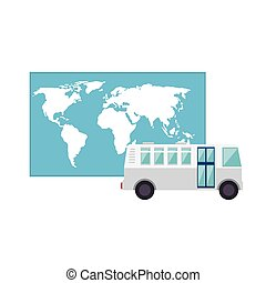 bus and world map - bus transportation vehicle and world map...