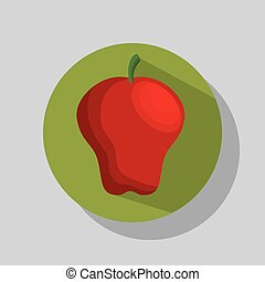 red apple fruit over green background. vector illustration