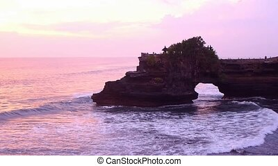View of Pura Batu Bolong, Tanah Lot, Bali, Indonesia.