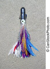feather skirted lure for big game angler fish colorful jet...