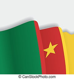 Cameroon waving Flag. Vector illustration. - Cameroon waving...