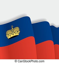 Liechtenstein waving Flag. Vector illustration. -...
