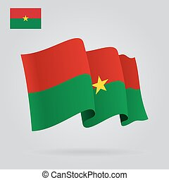 Burkina Faso waving Flag. Vector illustration.