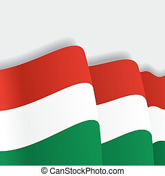 Hungarian waving Flag. Vector illustration. - Hungarian...