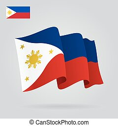 Philippines waving Flag. Vector illustration. - Philippines...
