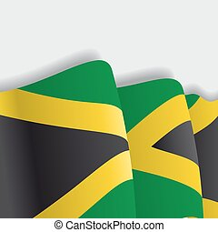 Jamaican waving Flag. Vector illustration. - Jamaican waving...