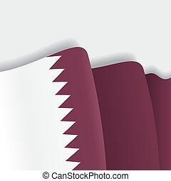 Qatari waving Flag. Vector illustration. - Qatari waving...