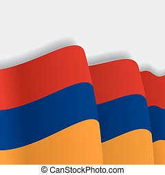 Armenian waving Flag. Vector illustration. - Armenian waving...