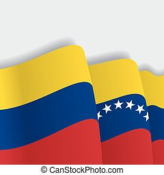 Venezuelan waving Flag. Vector illustration. - Venezuelan...