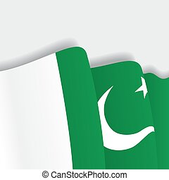 Pakistani waving Flag. Vector illustration. - Pakistani...