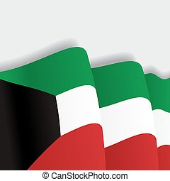 Kuwait waving Flag. Vector illustration. - Kuwait waving...