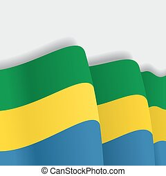 Gabon waving Flag. Vector illustration. - Gabon waving Flag....