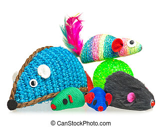 Bright toy mice - Toy mice for little kitten isolated on...