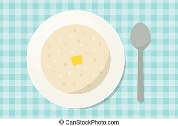 Oatmeal porridge with a piece of butter in a plate with...