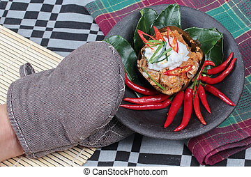 Streamed herb curry in banana leaf - Streamed vegetable...