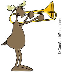 Moose playing a trombone - Illustration of a bull moose...