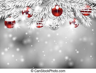 Christmas holiday illustration - Fir branches decorated with...