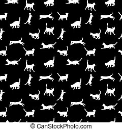 cat seamless background, vector silhouette
