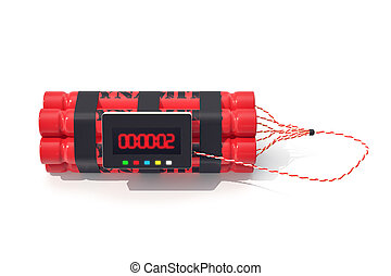 TNT dynamite red bomb with a timer isolated on white...