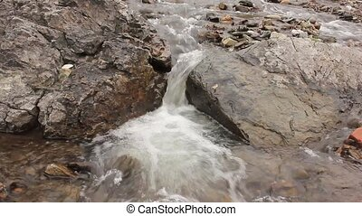 Small mountain river. Landscape with stream flowing between rocks. with original sound