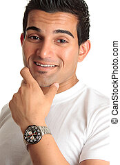 Happy smiling man wearing watch - Happy laughing smiling...