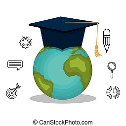 earth planet and graduation cap
