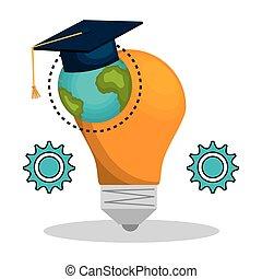 bulb and graduation cap
