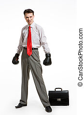 Angry man - Portrait of aggressive businessman wearing...