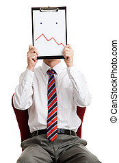 Confusion - Portrait of boss holding paper with facial...