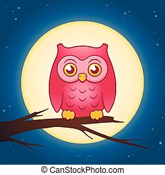 Cartoon owl with a full moon vector
