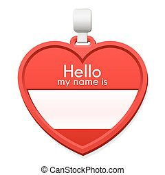 Name tag in the shape of a heart with copy space - Red name...