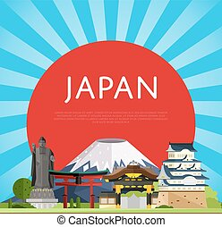 Japan travel concept with famous asian buildings