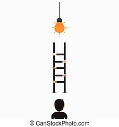 Businessman and light bulb with ladder sign.Ladder to...