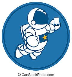 cosmonaut with smartphone in hand