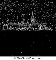 Stockholm by Night, Panoramic Landmark Sketch