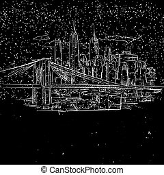 New York by Night with Brooklyn Bridge Sketch, Hand-drawn...