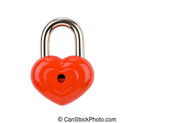 Heart lock - Photo of heart-shaped lock isolated on white...