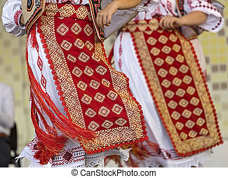 Detail of traditional Romanian folk costumes for women,...