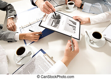 Planning - Image of human hands during discussion of...