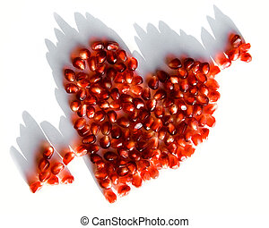 Broken heart - Image of pomegranate heart pierced by arrow...