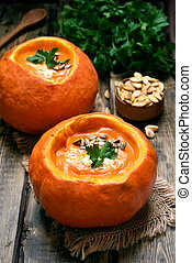 Pumpkin soup, country style - Pumpkin soup, healthy food for...