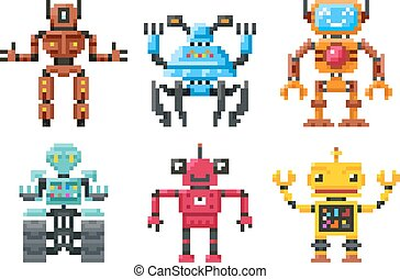 Pixel robots icons. 8 bit bots vector isolated set - Pixel...