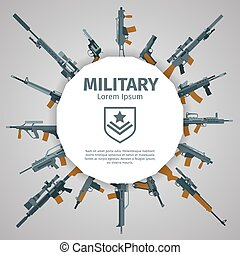 Weapons label. Vector guns badge with text. Automatic...