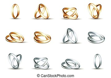 Vector wedding rings. Gold and silver ring isolated on white...
