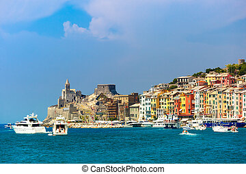 Porto Venere, La Spezia, Liguria, Italy - View from sea of...